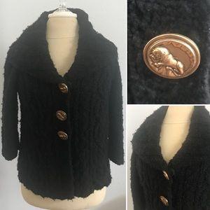 BOGO50%! Juicy Couture Jacket Black Fuzzy Wool